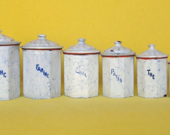 Complete Set of 6 Vintage French Enamelware Canisters, with unusual octogonal shapes
