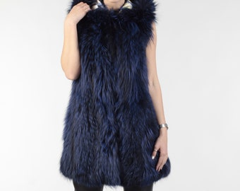 Luxury gift/ Blue Color  fox Fur Vest Hooded / Wedding,or anniversary present ELEFTHERIA