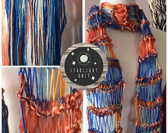 Hand Knit Hand Crafted Ladies Fashion Accessory Lightweight Scarf in Bright Blue and Corals