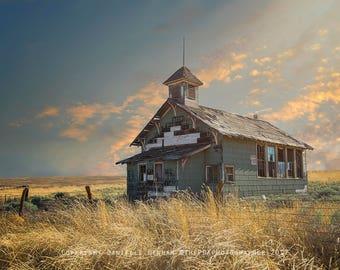 Landscape Print | One Room Schoolhouse | Rustic Decor | Western Decor | Old West Photograph | Washington Landscape | Washington History