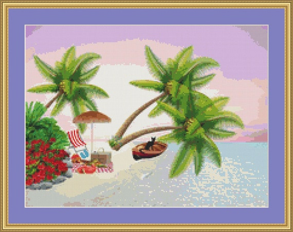 Picnic On The Beach Cross Stitch Pattern /Digital PDF Files /Instant downloadable