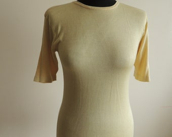 FREE SHIPPING - Vintage Jarvi Muoti 100% Silk sand beige knitted t-shirt/ top, size S