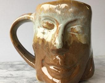 Visage tasse tête atelier poterie Figure navire tasse à café méditation Art Sculpture