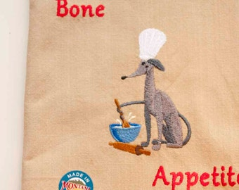 A Stirring Tail Tea Towel   Kitchen Towel   Embroidered Tea Towel   Personalized Dish Towel   Dog Lover Gift   Embroidered Kitchend
