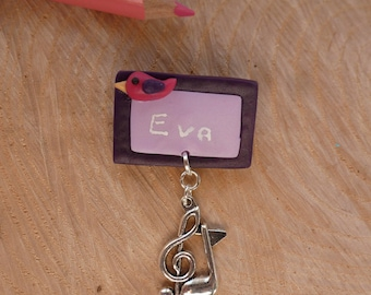 Slate - pin badge personalized polymer clay - fimo gift music teacher - teacher gift idea