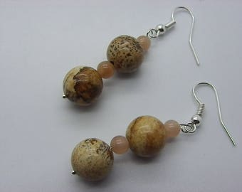 Jasper 10 mm earrings with beige Brown jade