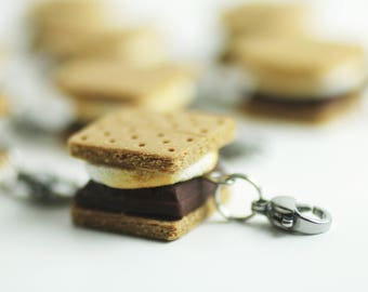 S'mores Charm, Food Jewelry, Miniature Food Jewelry, Mini Food, S'mores, Camping, Food Charm, Stitch Marker, Summer, Food Stitch Marker,