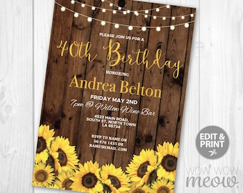Birthday invitation etsy birthday invitations sunflower wood womens any age invite instant download floral flowers surprise daisy editable invitation personalize filmwisefo