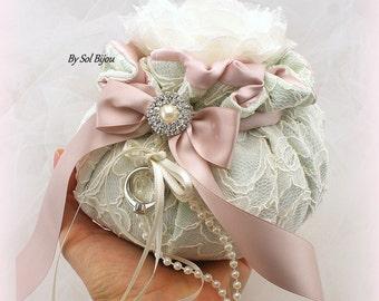 Ring Bearer Pouch,Ivory,Mint Green,Blush,Rose,Alternative Pillow,Bomboniere,Wedding Ring Pouch,Wedding Pouch,Vintage Wedding,Elegant Wedding