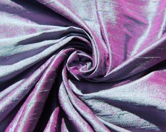 "Blue Fuchsia Pink iridescent 100% dupioni silk fabric yardage By the yard 45"" wide"