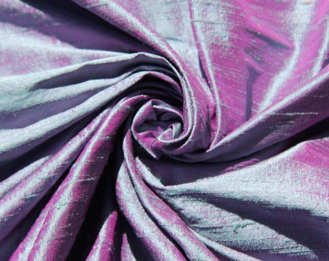 "Blue Fuchsia Pink iridescent 100% dupioni silk fabric yardage By the yard 45"" wide"