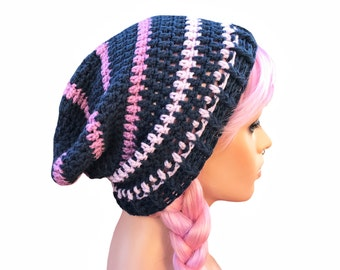 Slouch Beanie Navy Blue and Purple Striped ONE OF A KIND Will not be re listed