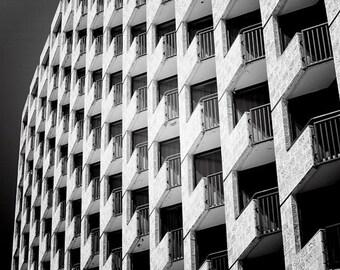 Black and White Urban Photography, Wall Art Print, Architecture Photography, Dark, Gray, Building, Windows, Geometric, Minimalist