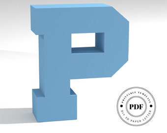 Printable DIY template (PDF).  Letter P low poly paper model template. 3D paper lettering. Origami. Papercraft. Cardboard alphabet.