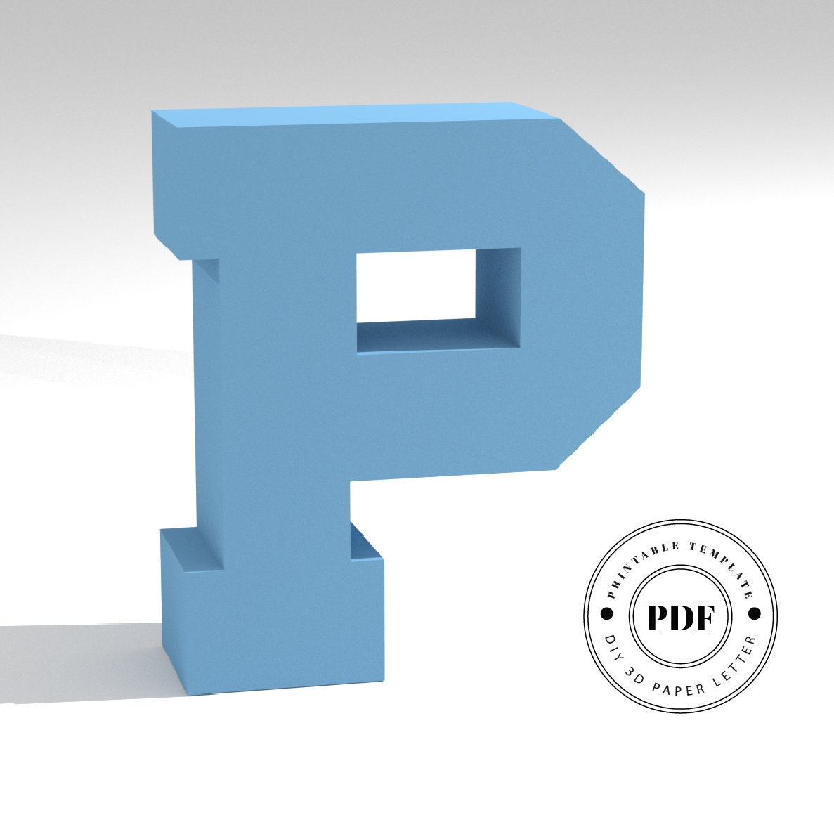 Printable DIY template (PDF). Letter P low poly paper model template ...