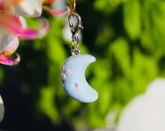 Baby Pastel Blue Crescent Moon, Kawaii Cute style Polymer Clay Miniature Charm Sculpture, Keychain