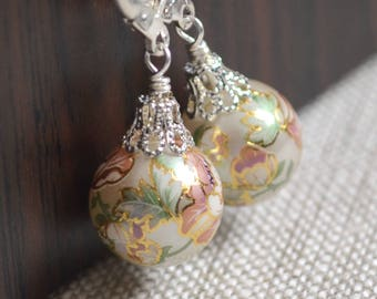 Christmas Ball Earrings, Silver Plated Lever Earwires, Japanese Tensha Beads, Floral, Feminine, Fun Holiday Jewelry