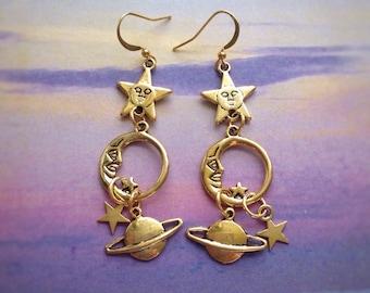Moon, stars and saturn celestial earrings, long, dangly, sold per pair