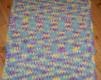 crochet baby blanket / baby afghan / nursery blanket yellow, purple and blue hand made