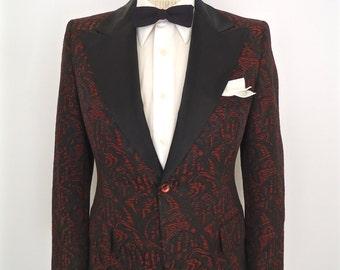 1960s Brocade Tuxedo Jacket with Peak Lapel / vintage red & black jacqard pattern dinner suit coat / After Six Rudofker tux / men's small