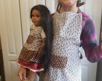 Kids Polka-dotted Apron with Flowers. Family Aprons. Cooking /Play / Dress-Up /Dolls