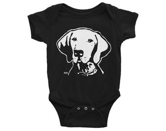 Hungarian Vizsla Baby One Piece, Dog Themed Birthday Party, Vizsla Art, Vizsla Baby Clothes, Dog Breeds Baby Bodysuit, New Baby Gift, Viszla
