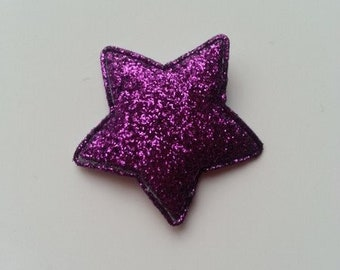 étoile matelassée pailletée violet  33mm