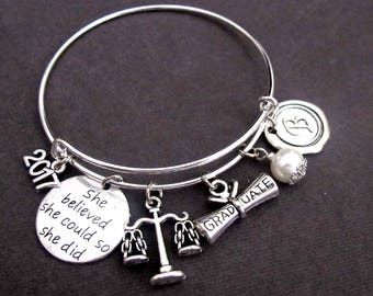 Law Graduation Bracelet,Law Grad Bracelet, Graduation,Lawyer's Gift,Law School Graduate,She Believed She Could So She Did,Free Shipping USA