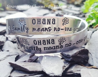 "Hand Stamped 'Ohana' 1/2"" Aluminium Cuff Bracelet, Family Jewelry, Gifts for Family,Family, Stamped Jewellery,Ohana Bracelet,Hibiscus Flower"