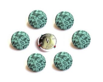 6 fabric buttons green and Emerald size option - buttons made in France