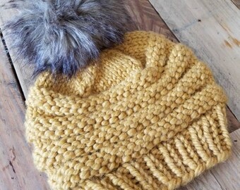 Chunky Knit Mustard Yellow Women's Hat With Large Handmade Faux Fur Pom Pom - Hand Knit Winter Hat Faux Pom Pom - Women's Knitted Hats