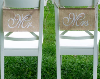 Mr Mrs Chair Sign Wedding Chair Sign Rustic Burlap Mr Mrs Banner Chair Signs Wedding Reception