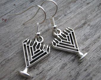 Menorah Earrings, Personalized Hanukkah Earrings, Chanukkah Jewelry, Judaism Jewelry, Jewish Earrings, READY To SHIP, Antiqued Silver
