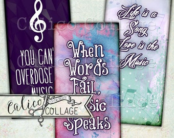 Printable, Music Quotes, Digital, Collage Sheet, Domino Collage Sheet, Music Ephemera, Junk Journal, Decoupage Paper, Quotes, Calico Collage