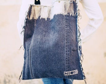 Shopper bag in recycled jeans. Bleached denim. Teide Wave