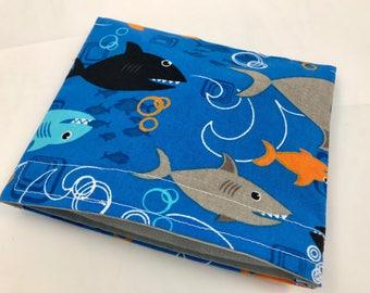 Reusable Snack Bag - Reusable Baggie - Shark Snack Bag - Fabric Snack Bag - Reusable Fabric Snack Bag - Sharks in Blue
