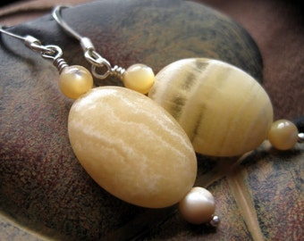 Yellow Earrings, Yellow Stone Earrings, Pale Yellow Beaded Earrings, Yellow Stripe Soapstone Earrings