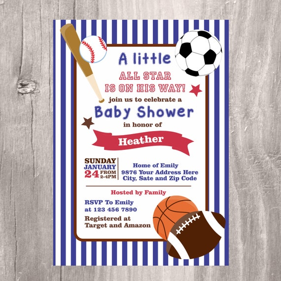 sports baby shower invitation printable blue baby shower