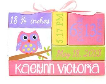 Owl Baby Birth Stats Nursery WoodenBlock Shelf Sitter Stack