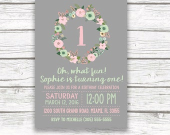 Gold Foil Boho First Birthday Invitation, Girl One 1st Birthday Pink and Mint Green Rustic Floral Wreath, Printed Printable Invitation