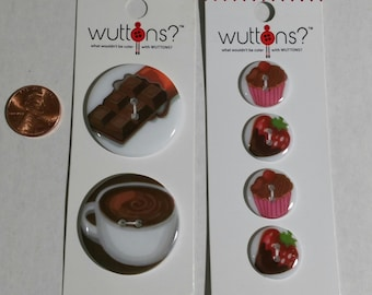Two Sets of Novelty Buttons Wuttons Buttons Chocolate and Coffee/Cupcakes Strawberries-New
