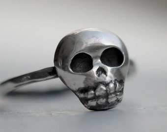 Baby Skull Ring, Mini Skull, Oxidized Sterling Silver, Handcrafted, Oxidized Black, Day of the Dead, Skeleton, Halloween. BABY SKULLY RING.