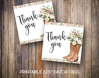 "Floral Cowgirl Boots Favor Tags, 2.25"" Square Tags, Thank You Tag, Rustic Baby Shower Tags, Gift Tags,Digital Download, Printable Tags, 806"