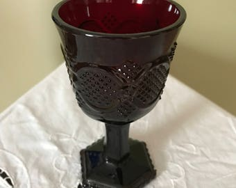 AVON CAPE COD** Ruby Red Pedestal Ruby Red Glass**