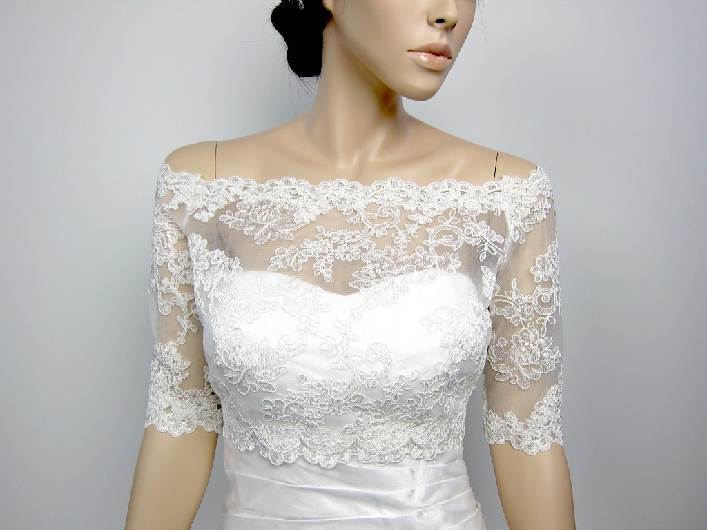 Off-Shoulder Alencon Lace Bolero Jacket Bridal Bolero Wedding