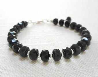 Black Czech Glass Bracelet, Beaded Bracelet, Faceted Glass Bead Bracelet, Czech Glass Jewelry, Simple Silver Bracelet, Jewelry Gift for Her