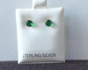 Birthday Studs Sterling Silver  5 mm.  Pick a color
