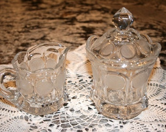 Fostoria Coin Pattern Clear Glass//Cream and Sugar//Vintage Fostoria Cream and Sugar