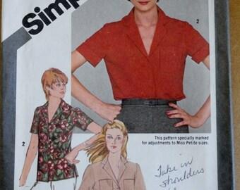 Vintage Sewing Pattern, Simplicity 9774, 80s Skirt, 80s Blouse, Womens Shirt, Collared Shirt, Short Sleeve Shirt, Size 6 8 XS