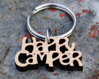 Wooden Happy Camper Keychain Gifts under 25 Glamping